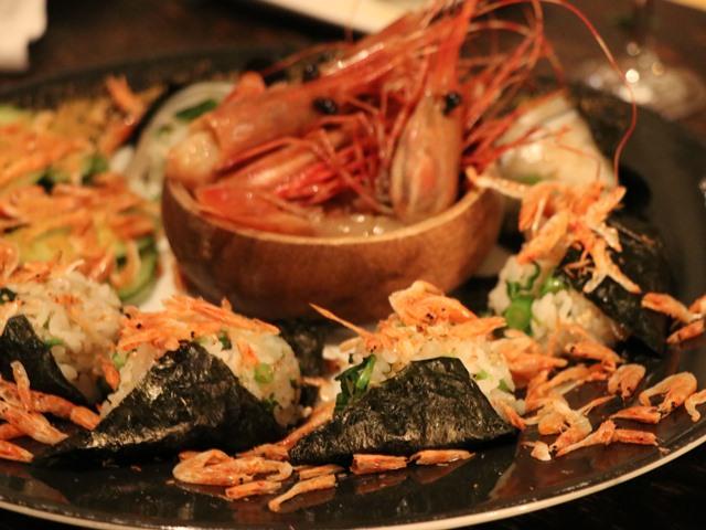 有頭海老とお寿司