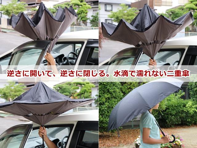 逆さに開いて、逆さに閉じる。水滴によって濡れない二重傘