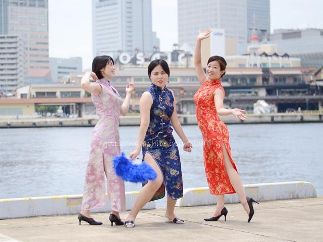 神戸ハーバーランドでチャイナドレス写真撮影