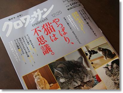 猫好き、必見! 雑誌『クロワッサン』12/25号はネコ特集ですよー。