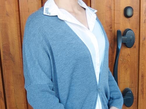 衿キラキラシャツと着やせニットのドッキングチュニックの会 by フェリシモ