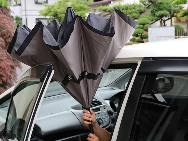 逆さに開く二重傘