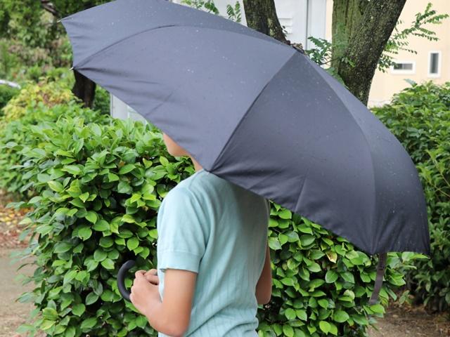 逆さに開く二重傘をさしたところ