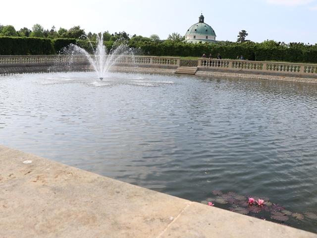 クロムニェジーシュの庭園の噴水
