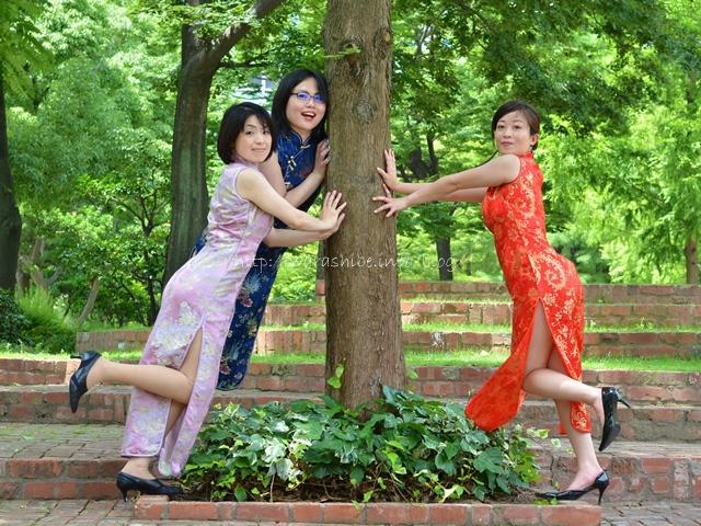神戸東遊園地でチャイナドレス写真撮影