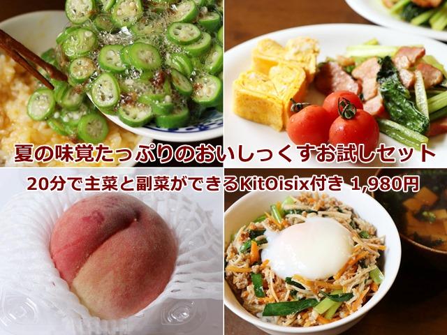 夏の味覚たっぷりのおいしっくすお試しセット 20分で主菜と副菜ができるKitOisix付き 1,980円