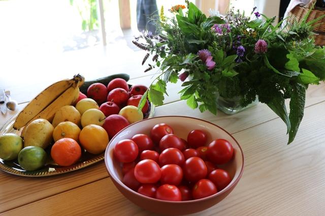 アヴアティニ薬用植物展示園 「緑のカクテル」の原材料となる薬用植物と果物