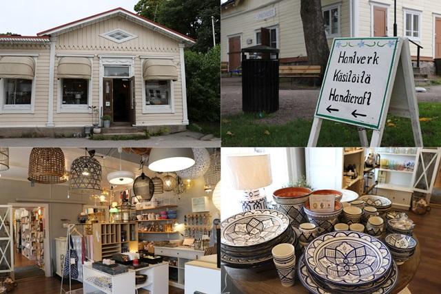 フィンランド南岸部のタンミサーリ旧市街のショップ