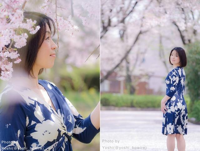 ayan桜の下でのポートレート