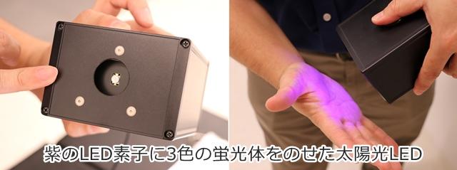 紫のLED素子に3色の蛍光体をのせた太陽光LED