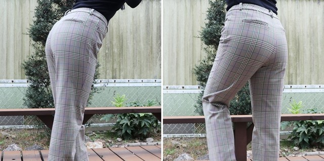 ビースリーのウォームチェック・ストレートパンツを履いた後ろ姿