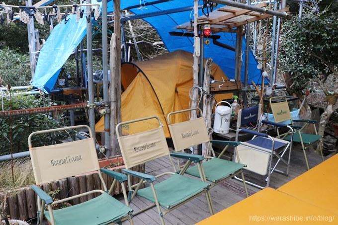 テラスに設置されたテント