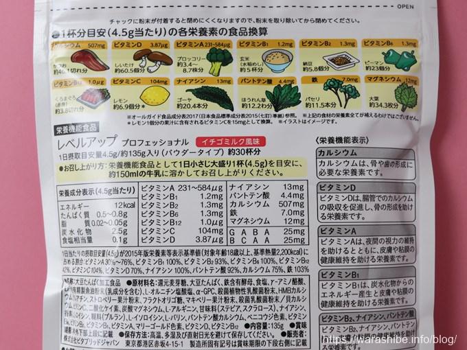 ビタブリッドCレベルアップ栄養成分表示