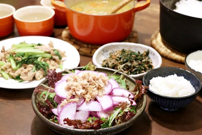五味農園の野菜いっぱいの晩ご飯