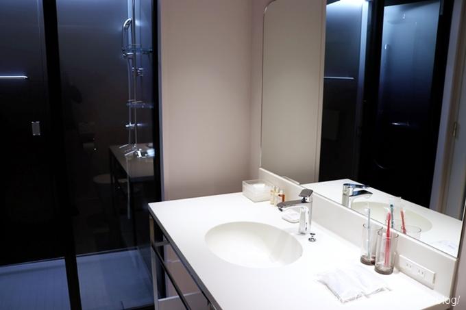洗面台の奥にシャワーブース