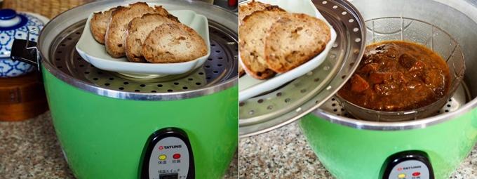 電鍋でパンをあたため