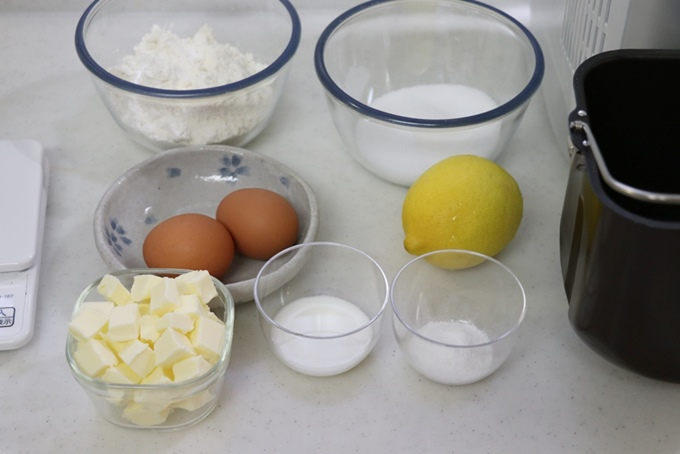 レモンケーキの材料